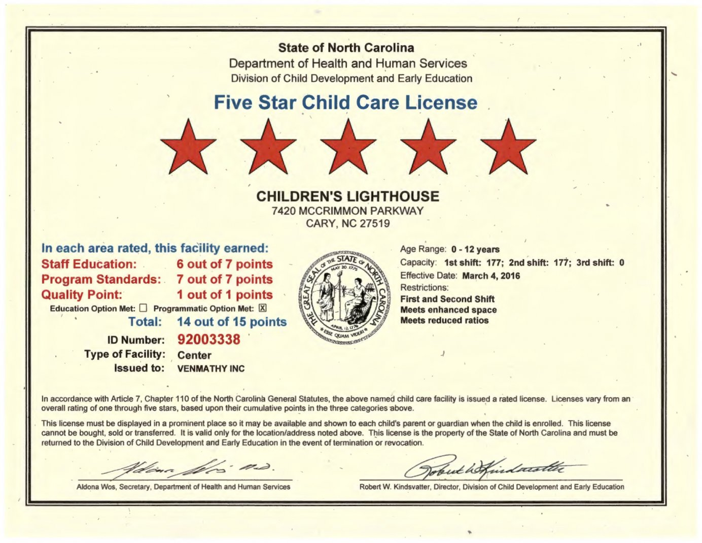 Five star child care daycare in cary childrens lighthouse xflitez Gallery